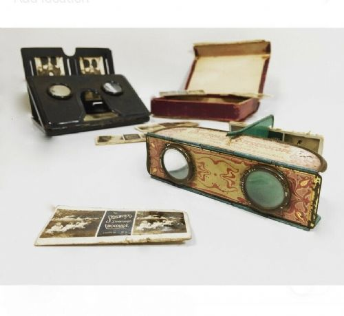 Antique Tin Folding Pocket Stereoscope Imperial Chocolates & Pocket Photo Viewer